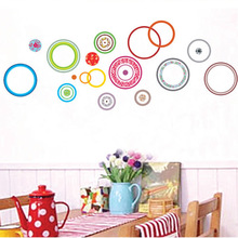 Wholesale Wall Stickers Three Generations Living Room Bedroom Wall Stickers Colored Circle Stickers TV Background Wall Hangings