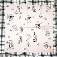 100% Silk Scarf Square Women Scarf Little Bears Neckerchief Small Square Silk Scarf 2017 Hot Female Bandana for Office Lady Gift