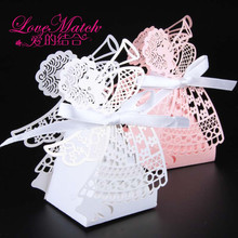 50pcs/lot Lovely Pink/White Baby Angle Laser Cut Wedding Favor Candy Box, Gift Box Baby Shower Supplies, Kids Party Favors