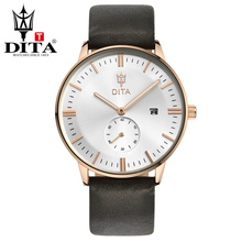 DITA Mens analog leather strap Wristwatches mens Quartz Business Casual Classic slim case with date brown black strap(China)
