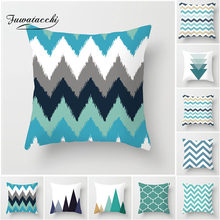 Fuwatacchi European Geometric Cushion Covers Blue Wavy Arrow Pillow Cases Cotton For Bedroom Sofa Decorative Pillow Covers(China)