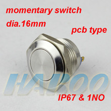 1PCS packing metal switch waterproof  IP67 16mm PCB  type momentary stainless steel push button switch shipping free