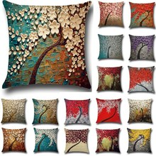 1 Pcs Flower Tree Printed Cotton Linen Throw Pillow Cushion Cover Seat Car Home Sofa Bed Decorative Pillowcase funda cojin 40211