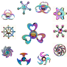 New Rainbow Finger Fidget Spinner Fun Hand Spinner Desk Focus Toy Anti Stress Spiner Metal EDC ADHD Autism Tri-Spinner Toy