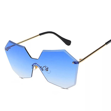 Sunglasses for Women and Men Big Frame Cheap Rimless Metal Sunglasses Man Brand Blue Yellow Brown Oversize Gold Eyegalsses Clear(China)