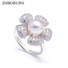 ZHBORUINI 2017 Fashion Pearl Ring Jewelry Of Silver Sunflower Ring Freshwater Pearl Rings 925 Sterling Silver Rings For Women