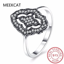 2017 new Authentic Sparkling Lace Stunning Ring with cubic ziron finger Ring 100% 925 Sterling Silver Jewelry ring for women
