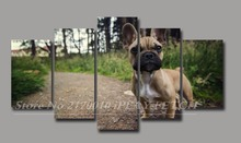 Framed 5 Panels French Bulldog Decor poster living room cuadros modernos Canvas modular Painting Decorative Photos Dog Lovers