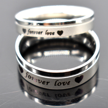 "AMUMIU Men Women Couple Rings Stainless Steel Wedding Engagement ""forever love"" Promise Band High Quality Never Fade HZR049(China)"