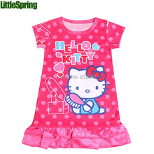 Mudkingdom Girls Polka Dot Hello Kitty Dress 2017 Kids girls dresses cute cartoon Dress nice girls clothing casual dress