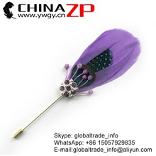 Leading Supplier CHINAZP Factory Unique Handmade Lavender Goose Feather with Rhinestone Brooch Pin