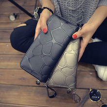 2016 Fashion Top Leather Women Long Clutch Wallet Dollar Price Elegant Stone Grain Purse Female's Luxury Car Coin Phone Handbag