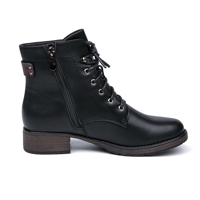 IMG_5632AIMEIGAO Round Toe Ankle Boots For Women Lace up Black Color Female Boots Warm Fur Plush Insole Classic Style Women Shoes