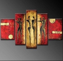 handmade 5 piece modern abstract oil paintings on canvas wall art figures pictures for living room home decoration unique gift(China)