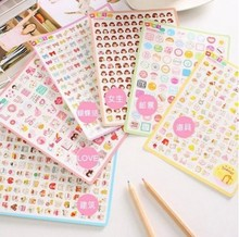 2 sheets/set Kawaii Mini Factory Cute Cartoon Bow Girl Diary Stickers For Mobile Phone Notebook Stationery Decoration Sticker