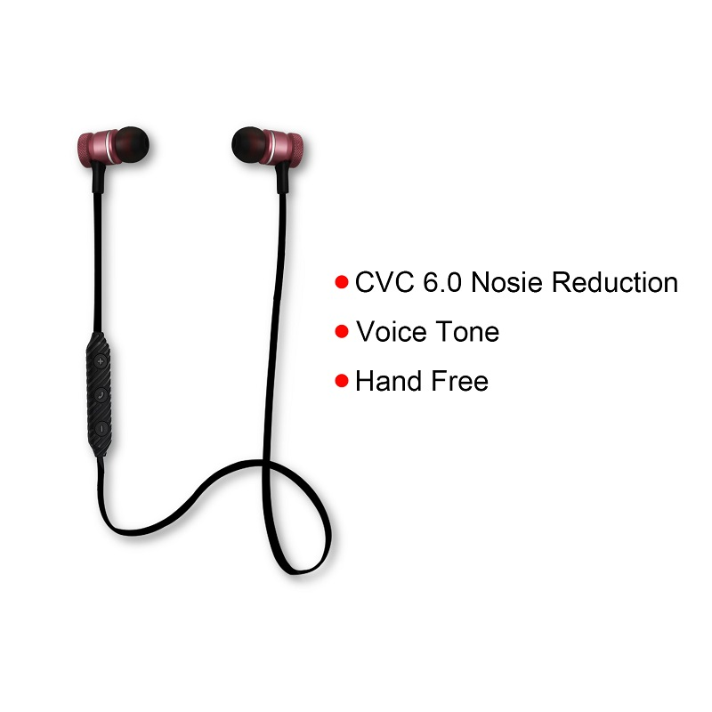 YODELI Metal Magnet Bluetooth Earphone Bass Headset with Microphone Wireless Sports Sweatproof Headphones for Mobile Phone