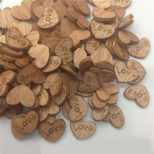 100Pcs/pack Love Heart Shape Wood Sewing Appointment Wedding Decoration Buttons Free Shipping