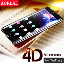 AGREAL 4D Curved Glass For Oneplus 5 Full Cover Round Edge 1+5 Screen Protector For One Plus 5 Tempered Glass Film 3D Free Case