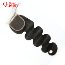 Queen Story Free Part Lace Closure Peruvian Remy Hair Body Wave Human Hair Natural Color 10-22 Inch Free Shipping