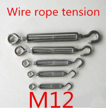 M12 Stainless Steel 304 Turnbuckle Hook to Eye Wire Rope Tension(China)