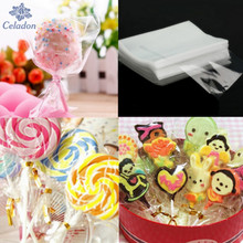 100Pcs Transparent Design Adhesive Bag Cookies DIY Gift Bags Candy Food Packaging Bags For Wedding Birthday Christmas Party