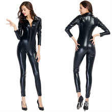 2015 Black Lady Latex Catsuit Sexy Wetlook Fetish PU Bodysuit Faux Leather Teddy Stretch Clubwear Zipper Front Catsuit One Size