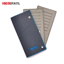 ZOROPAUL NEW 2017 Man Leather Business name brand Long Slim Unisex's Card ID Cardholder Fashion Male Credit ID Cards Holder Men