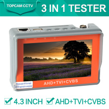 CCTV AHD TVI Tester 3 in 1 for CVBS Analog Camera Security Monitor 1080P with 4.3-inch LCD screen 5V 2A,12V 1A Surveillance