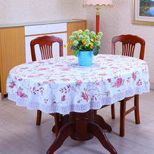 1Pcs 137cmx182cm Thicken Oval Pastoral Style Wave lace PVC waterproof Anti-oil tablecloth home/hotel table cover decoration(China)