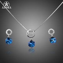 AZORA White Gold Color Bule Stellux Austrian Crystal Cube Drop Earrings and Necklace Jewelry Set TG0032