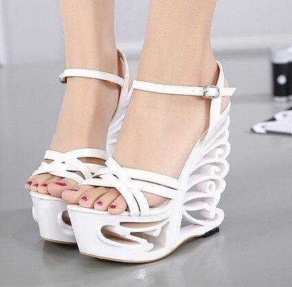 2017 women sandals summer wedges sandals gladiator high heel sandals round toe  platform sandals pump shoes white sliver<br><br>Aliexpress
