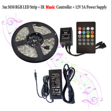 RGB Music Led Strip Lights Waterproof Flexible Tape Rope Light 5M 5050 300 LEDs +20key Remote Controller 12V 5A Power Supply Kit
