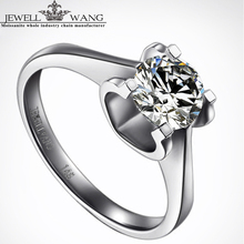 JEWELLWANG 18K White Gold Rings for Women Moissanites 0.5ct Certified Jk/vvs1 Forever Classic Engagement Ring Real Fine Jewelry
