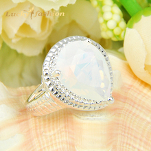 10 Pieces 1 Lot  Mix Size Drop Moonstone Crystal Silver Plated Wedding Rings Russia USA Holiday Gift Rings Australia Rings