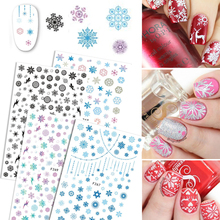 1 Sheets Xmas Snow Flower Colorful Nail Sticker 3D Christmas Winter Stamping for Nails Decorations Nail Art Tips CHF267-270
