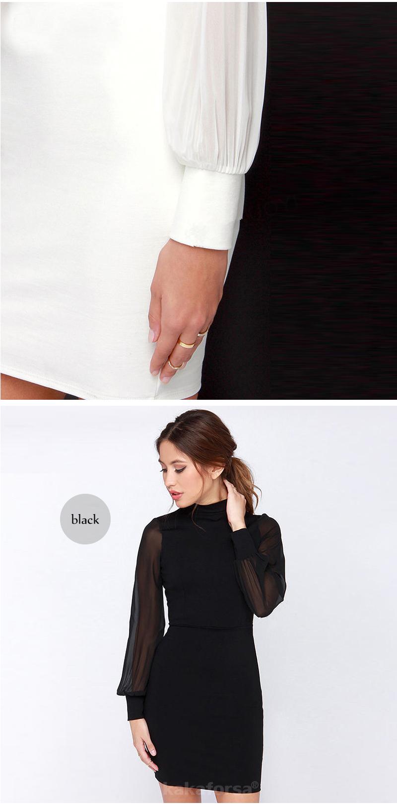 Kakaforsa Women Sexy Backless White Dress Casual Plus Size Slim Fit Bodycon Short Dress Long Sleeve O-Neck Mini Party Dresses 14