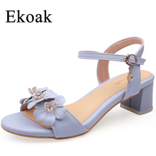 Ekoak New 2017 Fashion Flowers Women Sandals Summer Women Party Dress Shoes Ladies Ankle Strap High Heels Shoes Woman(China)