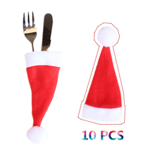 10pcs/set 6*15cm Christmas Santa Hat Cutlery Holder Knife Fork Spoon Pocket Cover Christmas Caps Decor Supplies(China)