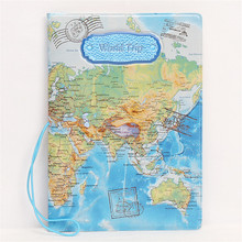 Fashion World Map Pattern Travel Passport Cover ID Credit Card Bag 3D Embossed Design Card Holder PVC Passport Holder Bag(China)