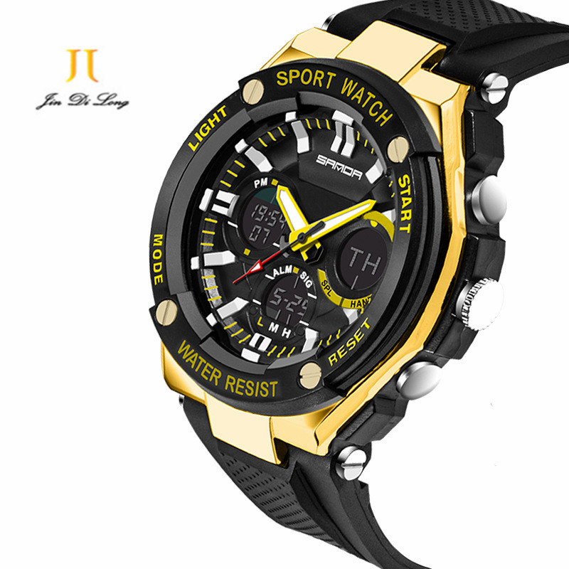 Fashion Sport Super Cool Mens Quartz Digital Watch Men Sports Watches SANDA Luxury Brand LED Military Waterproof Wristwatches<br>