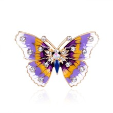 Winleader Fashion Trendy Korean Rhinestone Crystal Enamel Butterfly Brooch Pins Best Gift Buy It now Save your Money WL161129028(China)