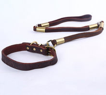 Dog Lead Collar Walking Leash Geniune Leather Buckle Strap Safety Obedience Puppy Traction Rope Metal Hook Pets Strong Supplies(China)