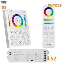 2.4G MiLight wireless FUT089 remote 8 Zone RF dimmer B8 Touch Panel Wall-mounted LS2 5 in 1 led controller for RGB+CCT led strip(China)
