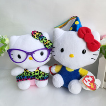 Ty Original Hello Kitty Plush Toy Leopard Skirt Glasses Cat Kawaii Little Girls Gift Birthday Hat Kids Toy Gift Hot sale