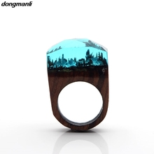 P183 dongmanli Wedding Brand Resin Secret Wood Rings For Women Magic Forest Wooden Ring Men Jewelry Clear Deep Rectangle Gift
