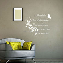 Inspirational Quote Wall Sticker Life Is Like A Box Of Chocolate Home Decor Butterfly Wall Decals Living Room Decoration