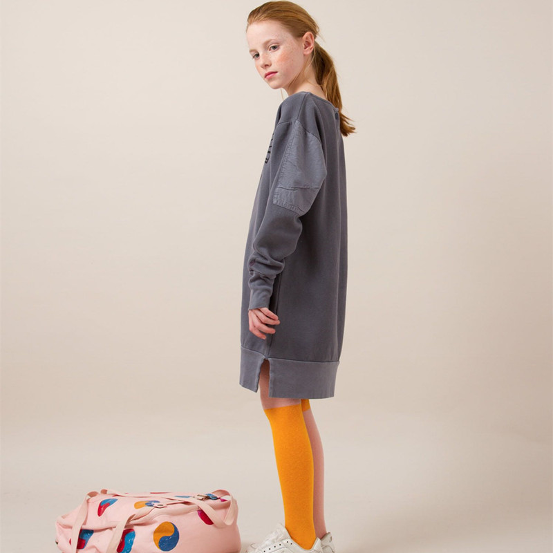 New Bobo Choses Winter 2018 Girls Dress Bird Fleece Girls Long-sleeve Dress Fashion Kids Clothing Baby Girl Clothes
