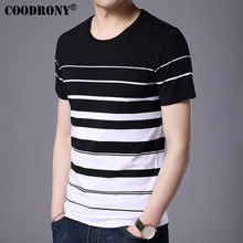 Buy COODRONY Pure Cotton Short Sleeve T-Shirt Men Brand Clothing 2017 Spring Summer New Fashion Striped Print O-Neck Tee Shirt S7633 for $14.28 in AliExpress store