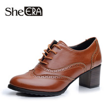 Buy Era 2017 PU Leather Shoes Woman 5.5CM Heel Casual Shoes Lace Oxfords Women Shoes Zapatos Mujer Color Black/Brown/Beige for $21.92 in AliExpress store