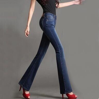 New 2017 Autumn Winter Womens Flare Denim Jeans Brand Woman Skinny Jeans Plus Size Stretch JeansÎäåæäà è àêñåññóàðû<br><br>